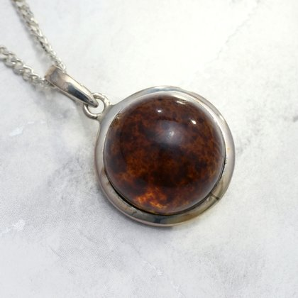 Amber & Silver Round Pendant ~ 20mm