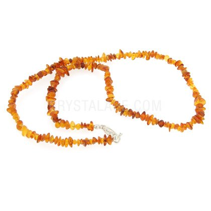 Amber Gemstone Chip Necklace with Clasp