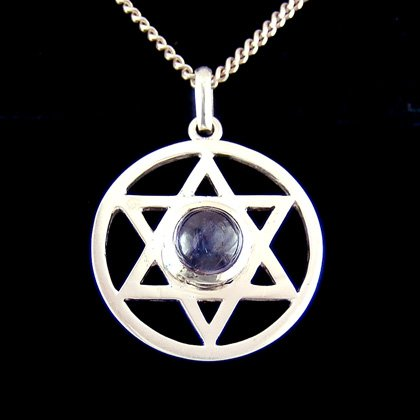 Amethyst & Silver Hexagram - 25mm