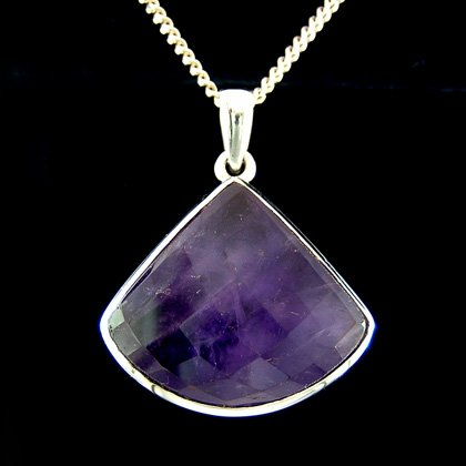 Amethyst & Silver Pendant - Faceted Triangle 30mm