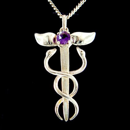 Amethyst jewellery amethyst silver winged caduceus pendant 40mm amethyst silver winged caduceus pendant 40mm mozeypictures Image collections