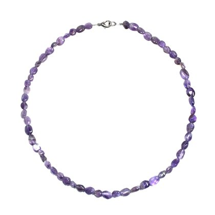 Amethyst Polished Tumblestone Necklace with clasp - 17 Inches
