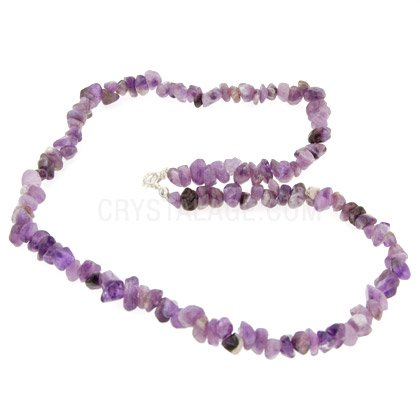 Amethyst Gemstone Chip Necklace with Clasp