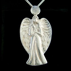 Arch Angel Silver Pendant With Moonstone - 50mm