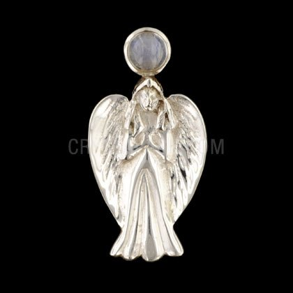 Arch Angel Silver Pendant with Moonstone Stone - 42mm