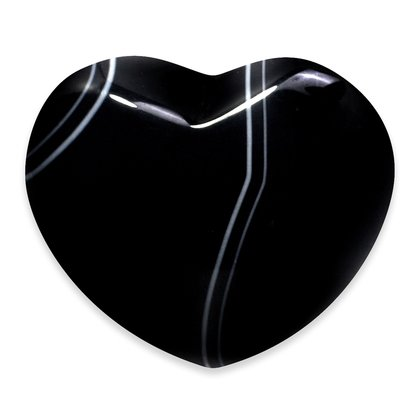 Banded Black Agate Heart ~45mm