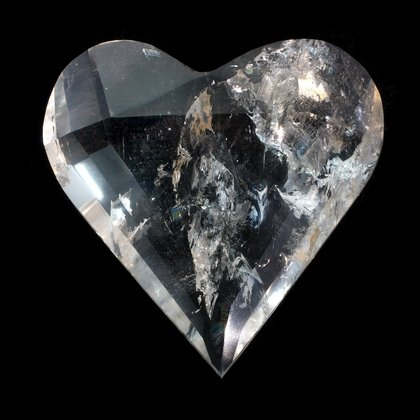 Beautiful Quartz Faceted Polished Heart ~65mm