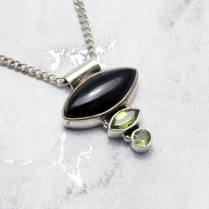 Black Amethyst and Peridot Triple Stone Pendant set in .925 Silver