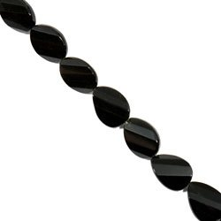 Black Obsidian Crystal Beads - 20mm Facet Twist Oval