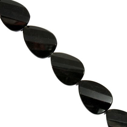 Black Obsidian Crystal Beads - 30mm Facet Twist Oval