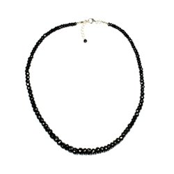 Black Tourmaline Faceted Bead Necklace ~17""