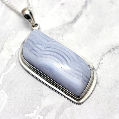 Blue Lace Agate & Silver Pendant - Freeform  44mm