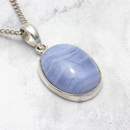 Blue Lace Agate & Silver Pendant - Oval 24mm
