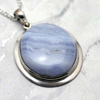Blue Lace Agate & Silver Pendant - Oval 34mm