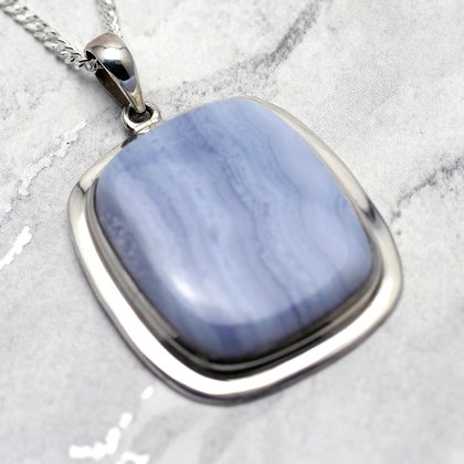 Blue Lace Agate & Silver Pendant - Rectangle 35mm
