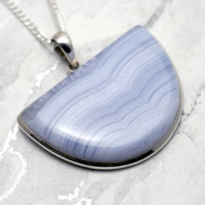 Blue Lace Agate & Silver Pendant - Wide Shield 40mm