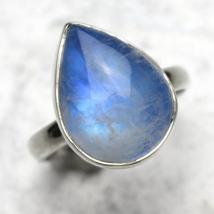 Blue Moonstone & Silver Teardrop Ring US 7 UK O