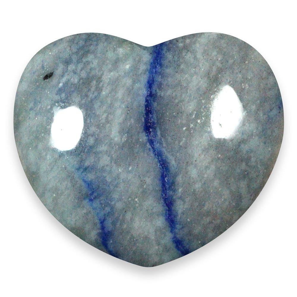 Blue Quartz Crystal Heart 45mm