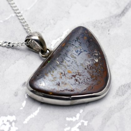 Boulder Opal & Silver Pendant - Triangle 36mm