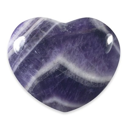 Chevron Amethyst Crystal Heart  ~40mm