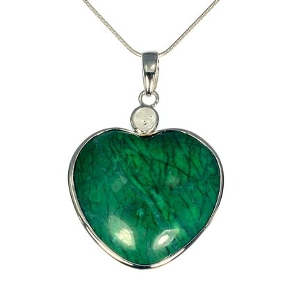 Chrysocolla Howlite Two Stone Heart Pendant