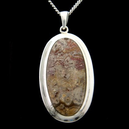 Crazy Lace Agate & Silver Pendant - Oval 45mm