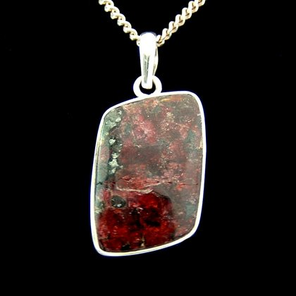 Eudialyte & Silver Pendant - Freeform Diamond 29mm