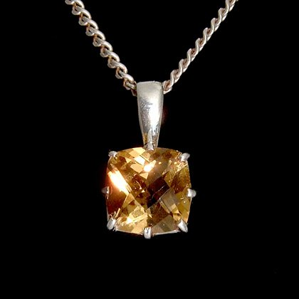 Faceted Citrine & Silver Pendant Claw Mount - 10mm