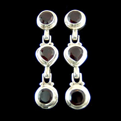 Faceted Garnet Triple Stone Stud Earring - 40mm