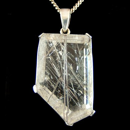 Faceted Tourmalinated Quartz & Silver Pendant - Freeform 35mm
