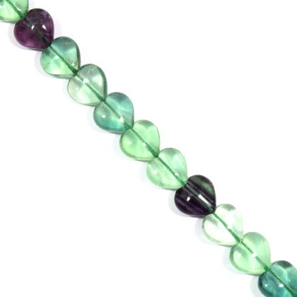 Fluorite Crystal Beads - 14mm Puff Heart