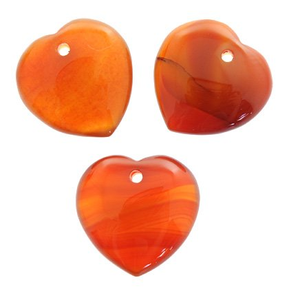 Front Drilled Carnelian Hearts - 30mm