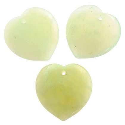 Front Drilled New Jade Hearts - 40mm