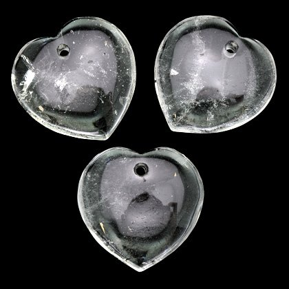 Front Drilled Quartz Hearts - 40mm