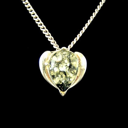 Green Amber Crystal Heart Pendant  - 16mm