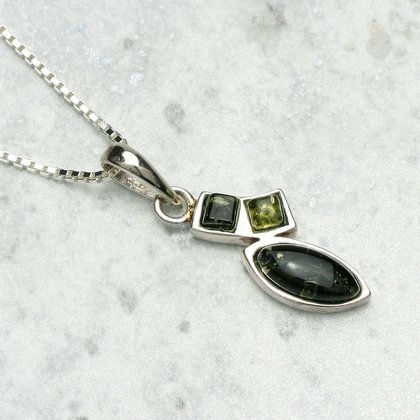 Green Amber Crystal Pendant & Silver Chain - 25mm