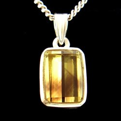 Green Gold Phantom Quartz & Silver Pendant - 16mm