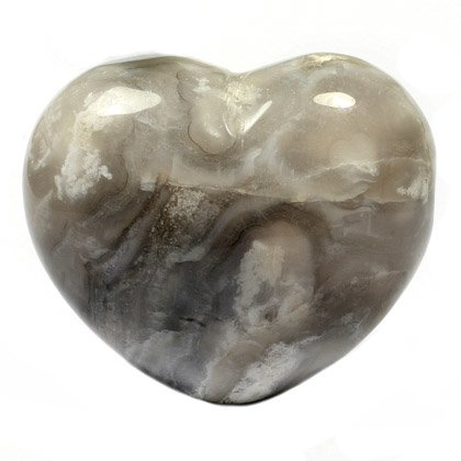 Grey Lace Agate Crystal Heart ~45mm