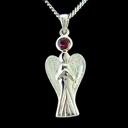 Guardian Angel Silver Pendant with Garnet Stone - 35mm