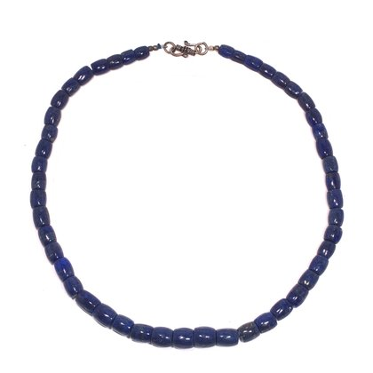 Lapis Lazuli Necklace - Polished Barrels with clasp - 19 inches