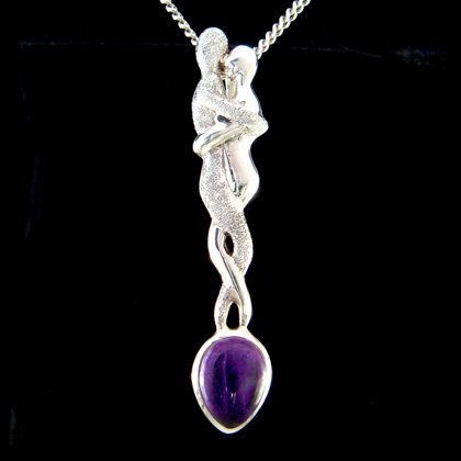 Lovers Silver Pendant with Amethyst Stone - 58mm