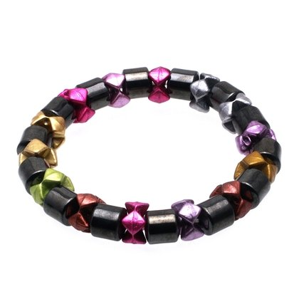 Magnetic Hematite Bracelet - Multi coloured Star Beads
