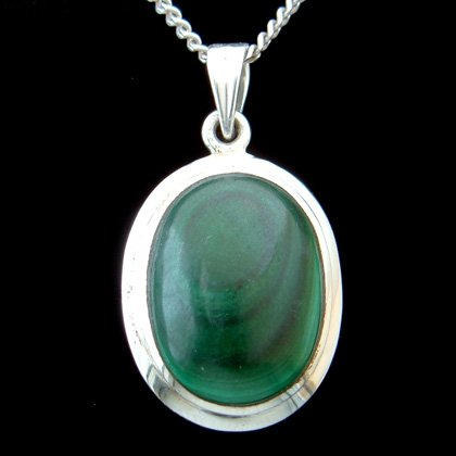 Malachite & Silver Pendant - Oval 28mm