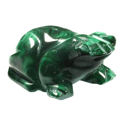 Malachite Carved Crystal Frog