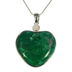 Malachite Howlite Two Stone Heart Pendant