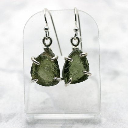 Moldavite & Silver Earrings ~14mm