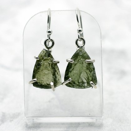Moldavite & Silver Earrings ~15mm