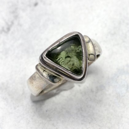 Moldavite & Silver Ring ~ 9 US Ring Size , S UK Ring Size