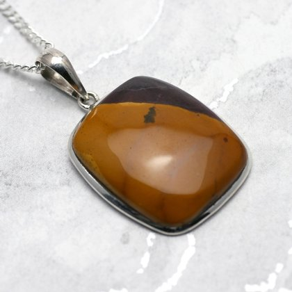 Mookaite & Silver Pendant - Soft Rectangle 29mm