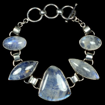 Moonstone & Silver Gemstone Bracelet (Length - 16.5-19.5cm)